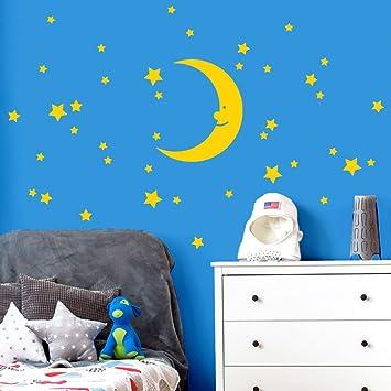 Wandaro Wandtattoo Mond Sterne I Gelb Kreativset I Aufkleber Selbstklebend  Kinderzimmer Mädchen Jungen Schlafzimmer Jungs Wandaufkleber