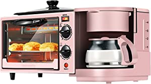 Charming Pink Three-In-One Breakfast Machine Multi-Function Toaster Sandwich Maker Can Make Coffee