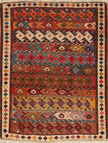Vintage Color-Full South-Western Gabbeh Persian Area Rug Hand-Knotted Wool Carpet 4'X5' (5' 0'' X 4' 0'')