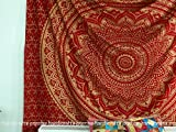 """""""New Launched"""" Popular Handicrafts Kp691 original Gold Ombre Tapestry Mandala tapestries Wall Art Hippie Wall Hanging Bohemian Bedspread With Metallic Shine tapestries 84x90 Inches(215x230cms) Red"""