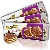 Biscolata Love Bite Chocolate Cookies with Raspberry Cream Snacks Heart Shaped Cookies (Raspberry) (3 Pack)