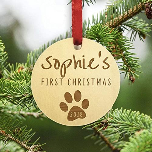 Dogs First Christmas Ornament.Pet Christmas Ornament Christmas For Dogs Christmas For Cats Personalized Wooden Christmas Ornament Rustic Ornament Christmas Ornament Pet
