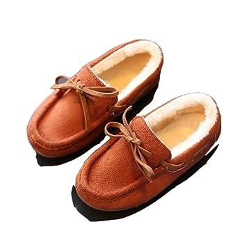 CCMOO Zapatillas Acolchadas de algodón para niños Zapatilla de casa Niños Bebé Invierno Niñas/Chicos Plus Mocasines Calentamiento Interior, marrón, ...
