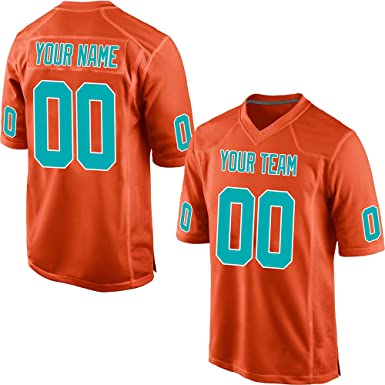 4274d083392 GENPO Customized Women's Orange Mesh Make Your Own Football Jersey  Embroidered Team Name and Your Numbers