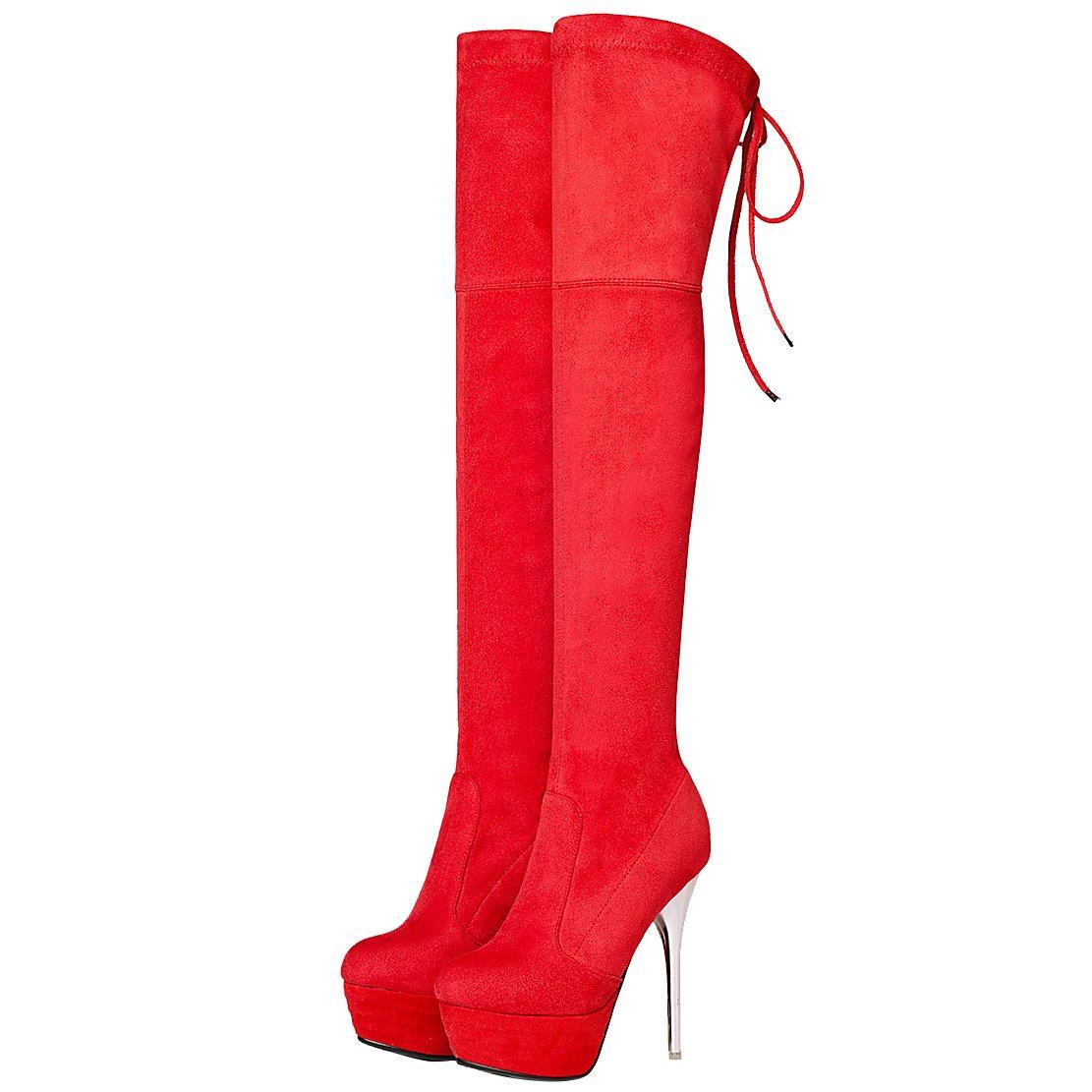 AIYOUMEI Damen Stiletto Plateau Stretch Overknee Stiefel mit mit mit Schnürsenkel und 14cm Absatz Elegant High Heels Winter Stiefel da3466
