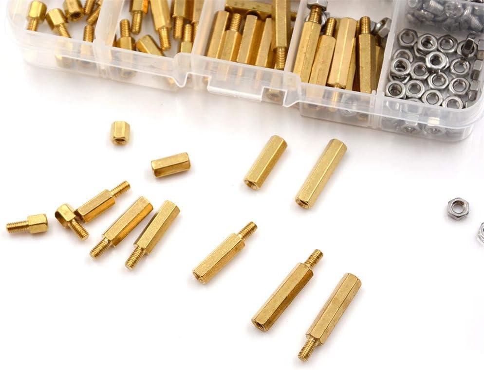 120PCS M3 Hex Entretoise Vis /Écrou En Laiton Entretoise Standoff Vis Assortiment Kit//t/êtes cylindriques//M/âle-Femelle Colonne Kit//Plateau /à /écrous