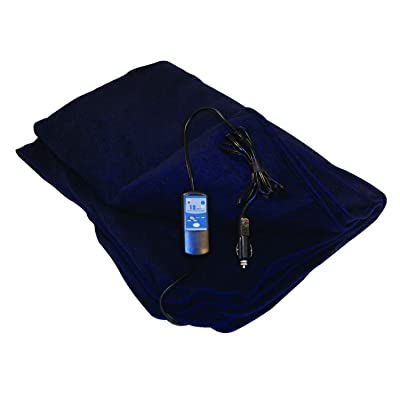 "Car Cozy 2 - 12-Volt Heated Travel Blanket (Navy, 58"" x 42"") with Patented Safety Timer by Trillium Worldwide: Automotive"