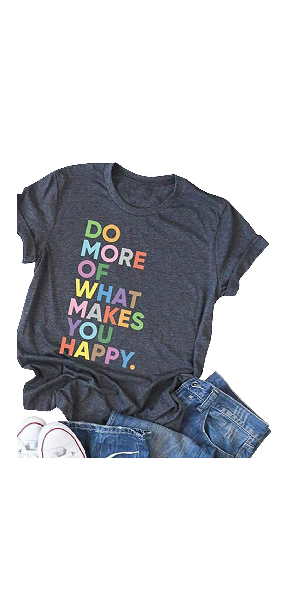Women's Fun Happy Graphic Tees Cute Short Sleeve Letter Printed