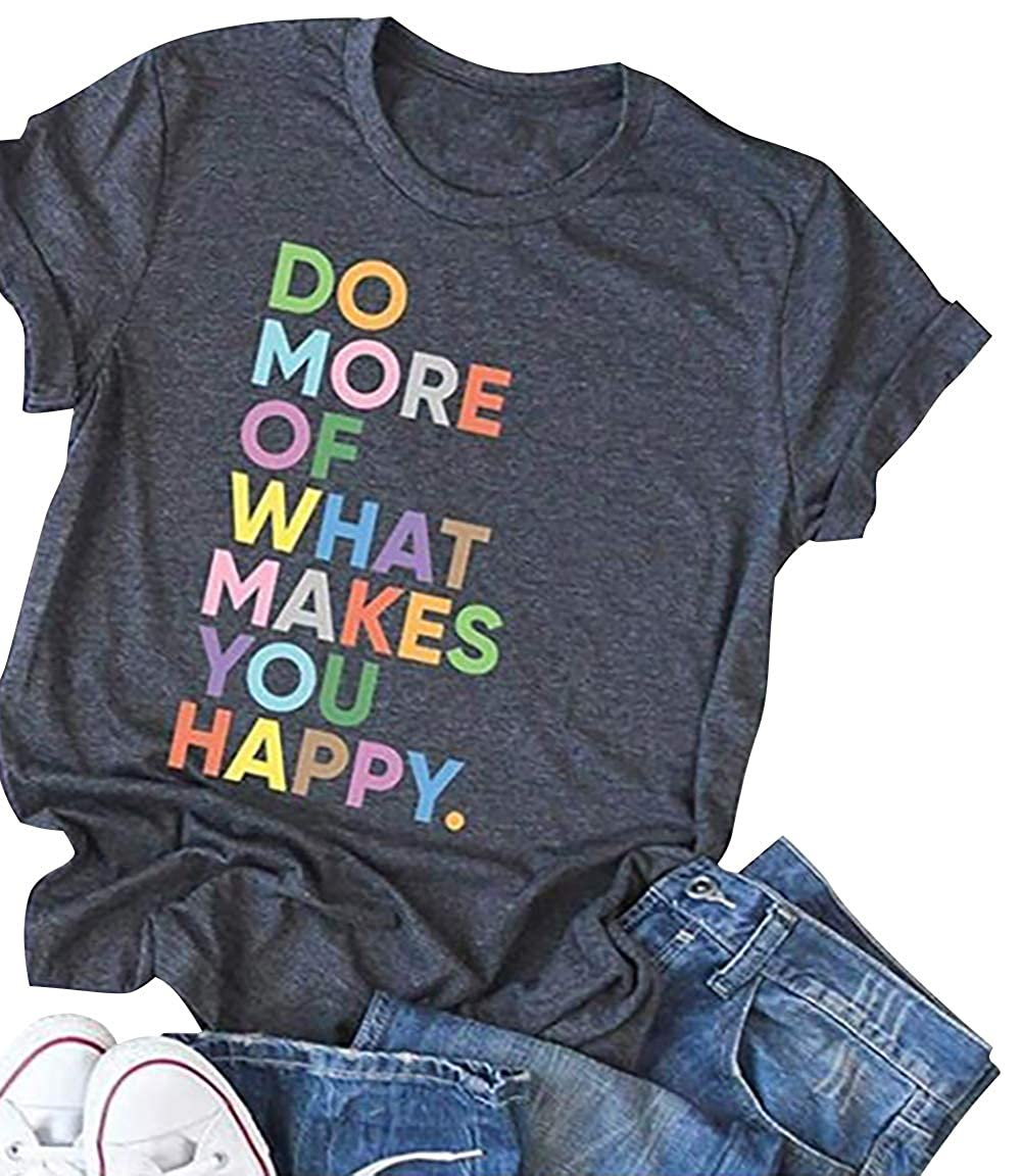 Women's Fun Happy Graphic Tees Cute Short Sleeve Letter Printed T-Shirts Tops