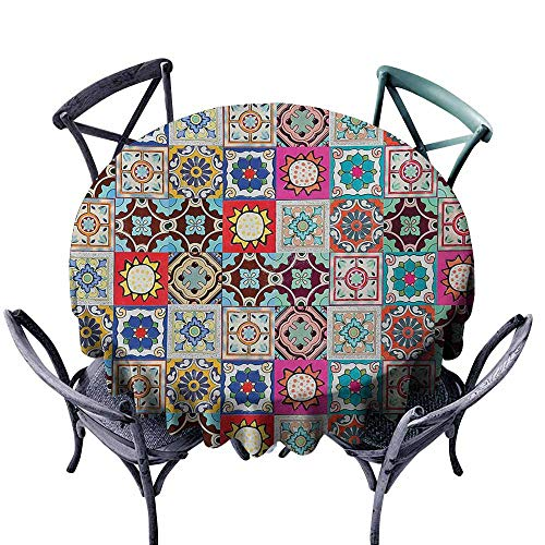 - VIVIDX Washable Round Tablecloth,Moroccan,Collection of Ceramic Mosaic Tiles and Figures with Mathematical Geometric Artful,Party Decorations Table Cover Cloth,35 INCH,Multicolor