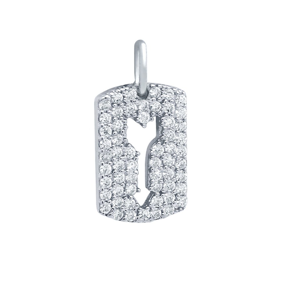 Pendant Dimensions of 15MMx10MM Noureda Sterling Silver Rhodium Plated Fancy CZ Pave Tag Pendant with Cutout Arrow