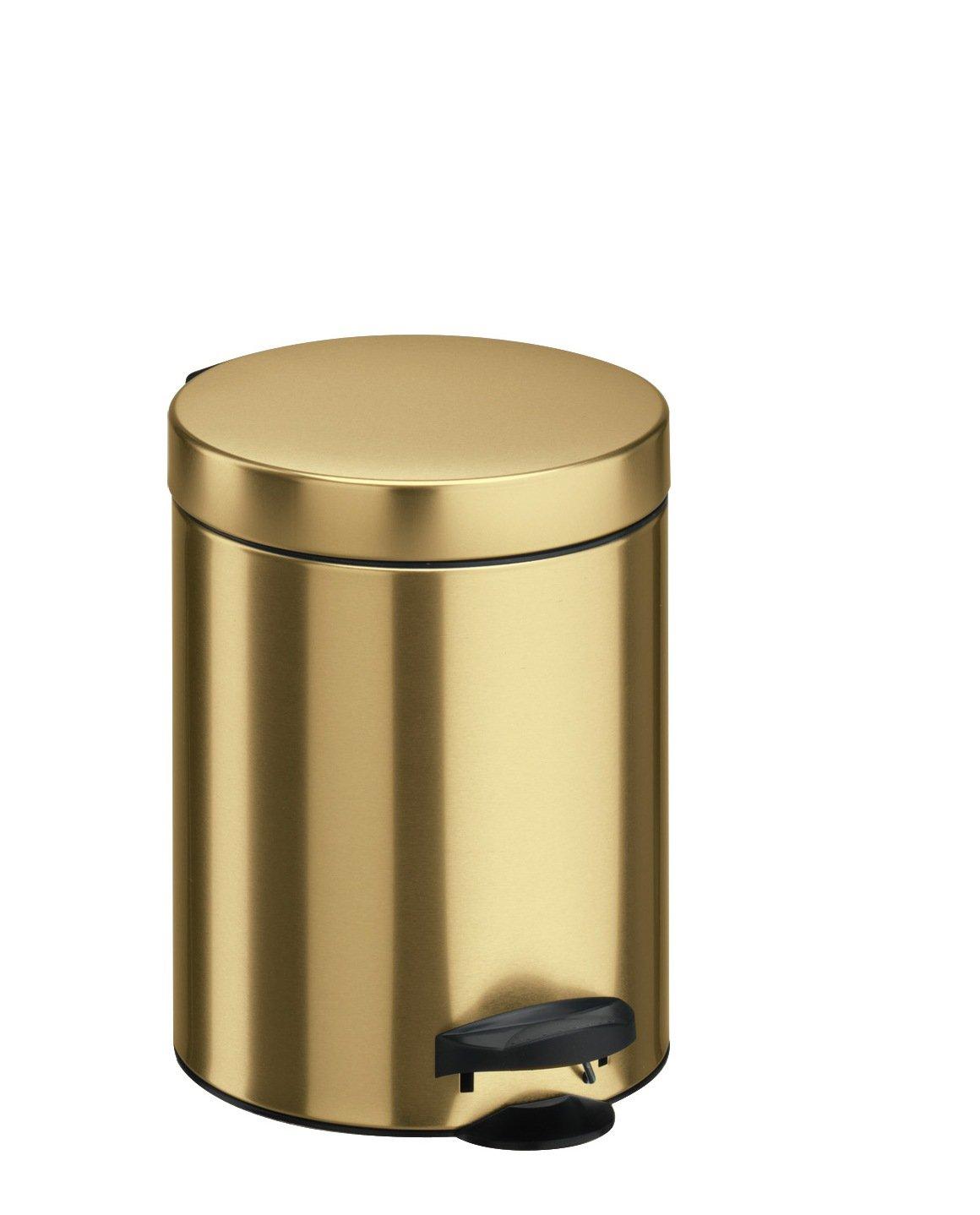 Lamiera litografata colore Oro con Secchio in plastica Made in Italy 18.7 x 18.7 x 24 cm Meliconi Pattumiera a Pedale 5 lt