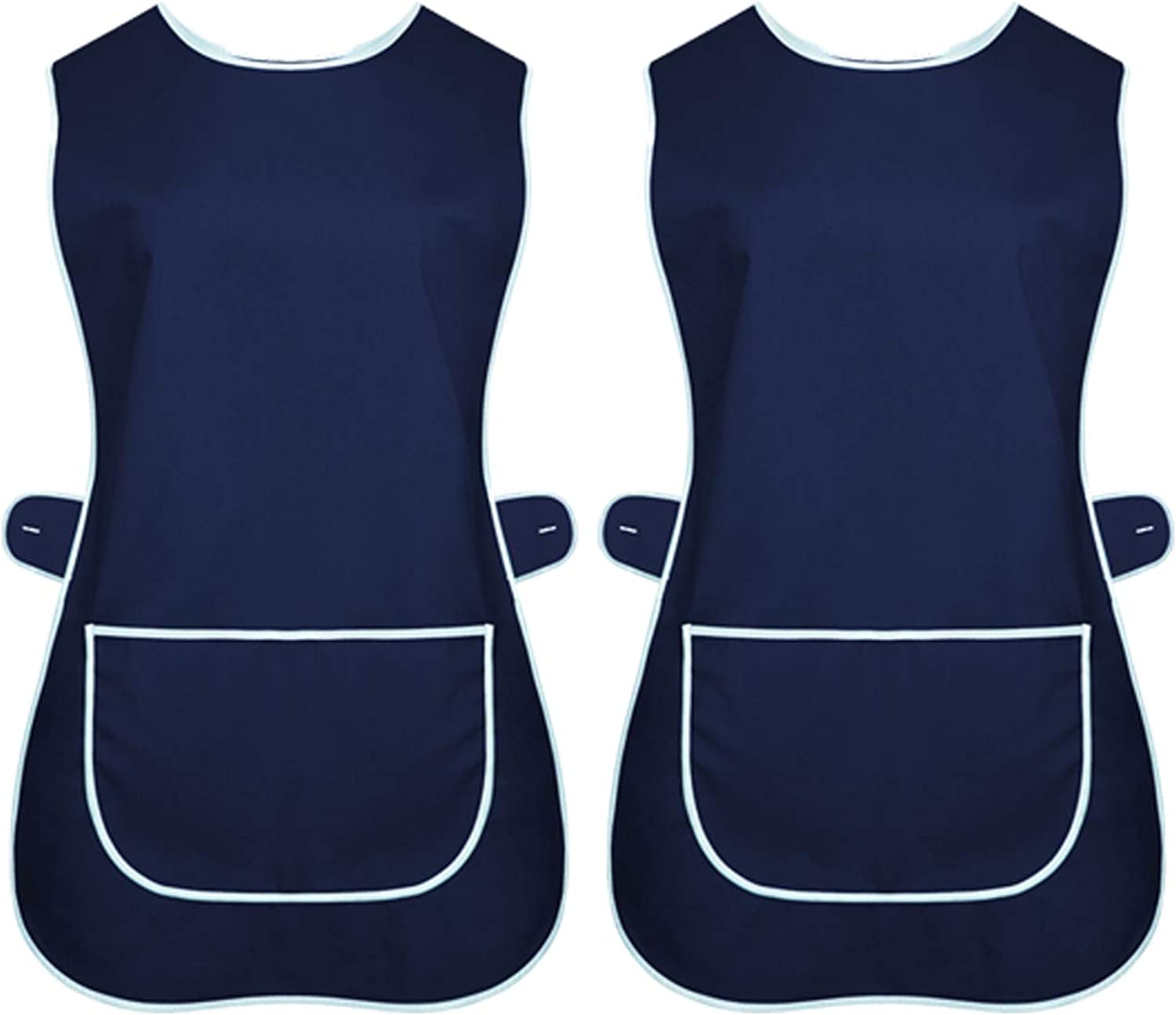 INDX-Clothing Pack of 2 Ladies Tabard Apron Kitchen Overall Catering TABBARD Cleaning Pocket