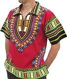 RaanPahMuang European Collar Short Sleeve Afrika Print Shirt African Dashiki Art, Small, Dark Venetian Red For Sale