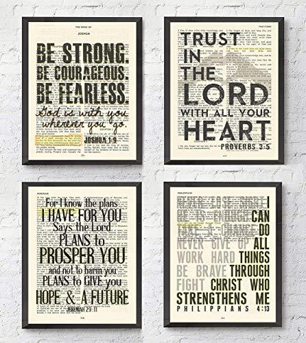 Joshua 1:9, Proverbs 3:5, Jeremiah 29:11, Philippians 4:13 Christian Art Prints, Set of 4, Unframed, Bible Verse Scripture Wall Decor Poster, 8x10 Inches -