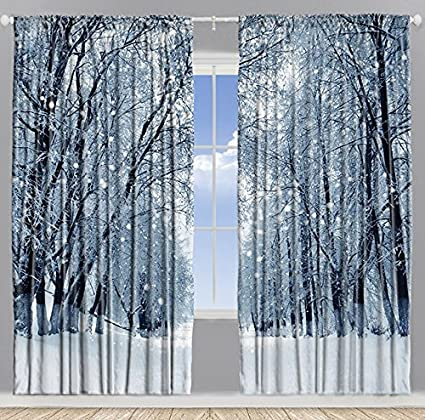 Farmhouse Woodsy Woodland Window Drapes For Bedroom Park Decor Snowy Forest Trees Polar Winter Jungle