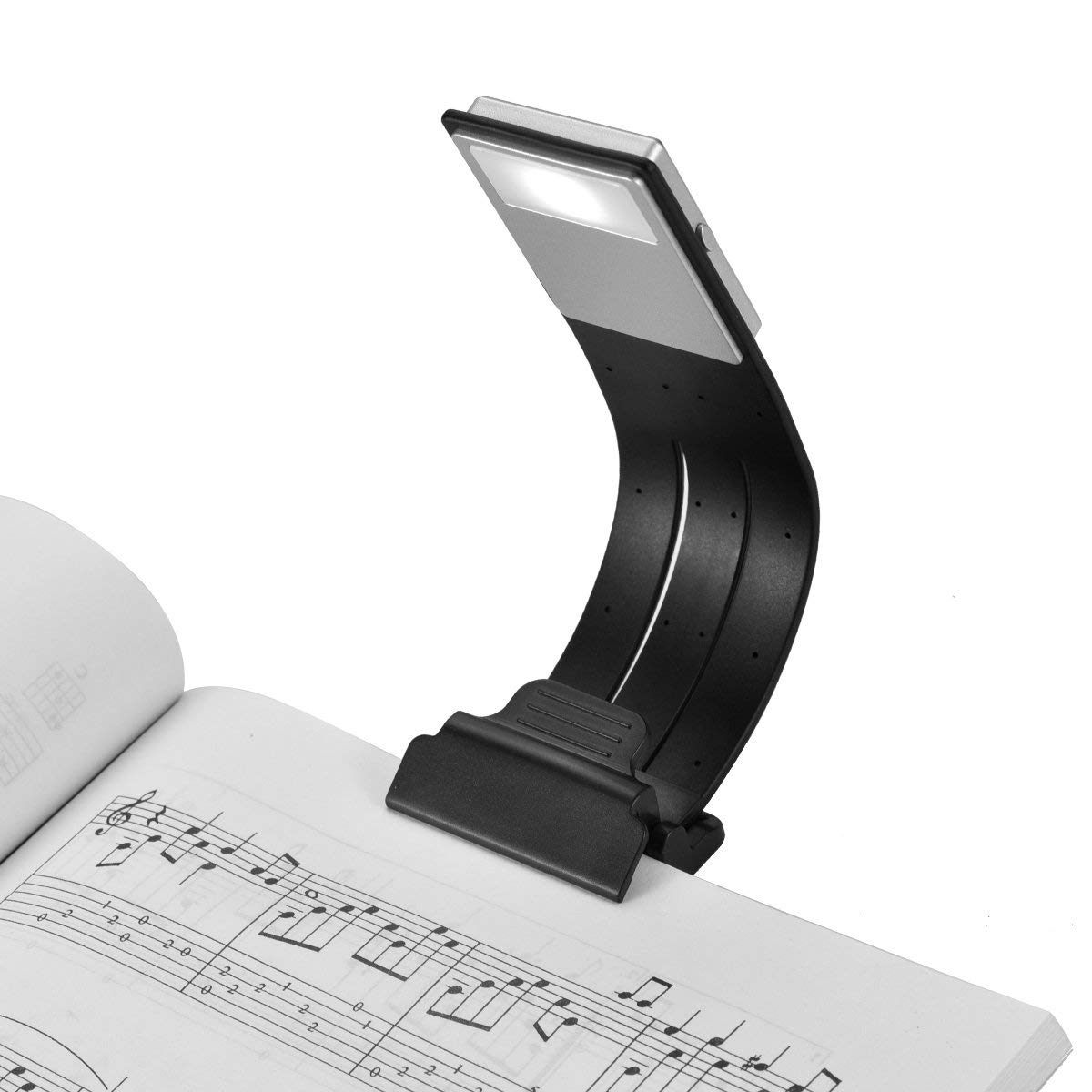 LOAMO Clip On Book Light USB Rechargeable LED Reading Lamp Eye Care Double As Bookmark Desk & Bed Lamp Flexible with 4 Level Dimmable for Book, ipad and More (Black) by LOAMO
