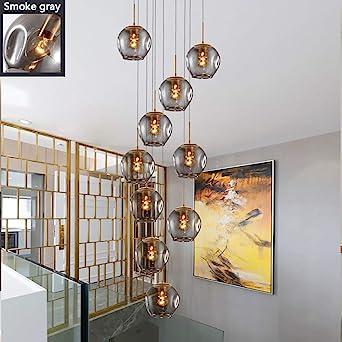10 Bolas de cristal Lámpara de araña Lámpara colgante larga Edificio dúplex Lámpara grande Sala de estar Villa Hueco Lámpara de escalera minimalista moderna 50x250cm: Amazon.es: Iluminación