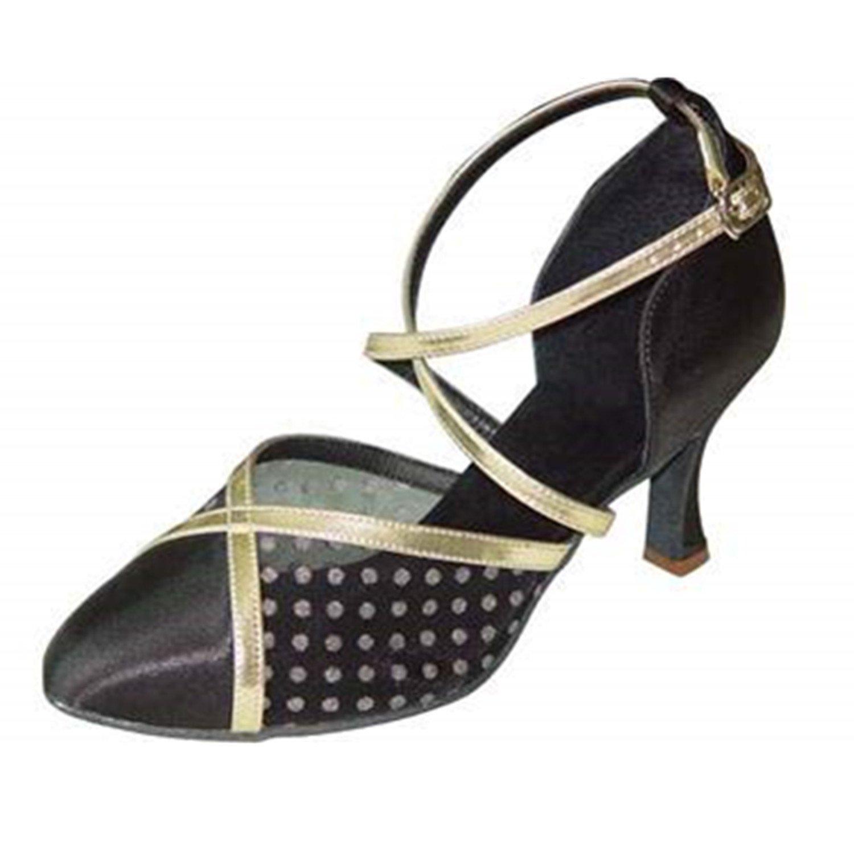 BYLE Leder Sandalen Riemchen Samba Modern Jazz Tanzen Schuhe Sommer Nach Latin Tanzen Schuh Riemchen Schuhe Schwarz Gold