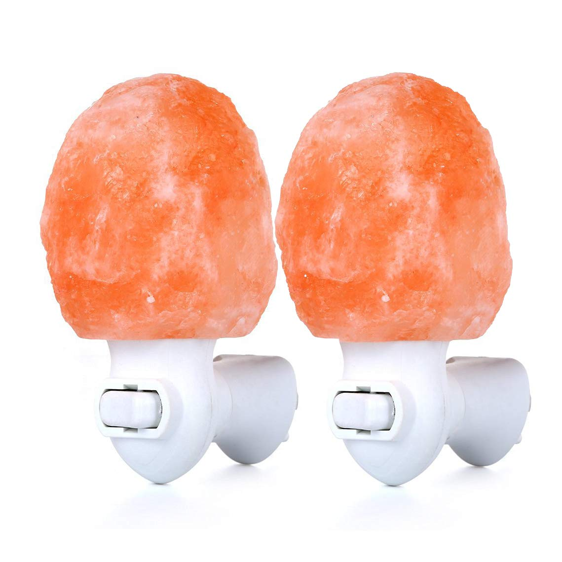 (Pack of 2) Zoostliss Mini Hand Carved Natural Original Crystal Himalayan Salt Lamp Night Light with Additional Bulb for Backup by Zoostliss (Image #1)