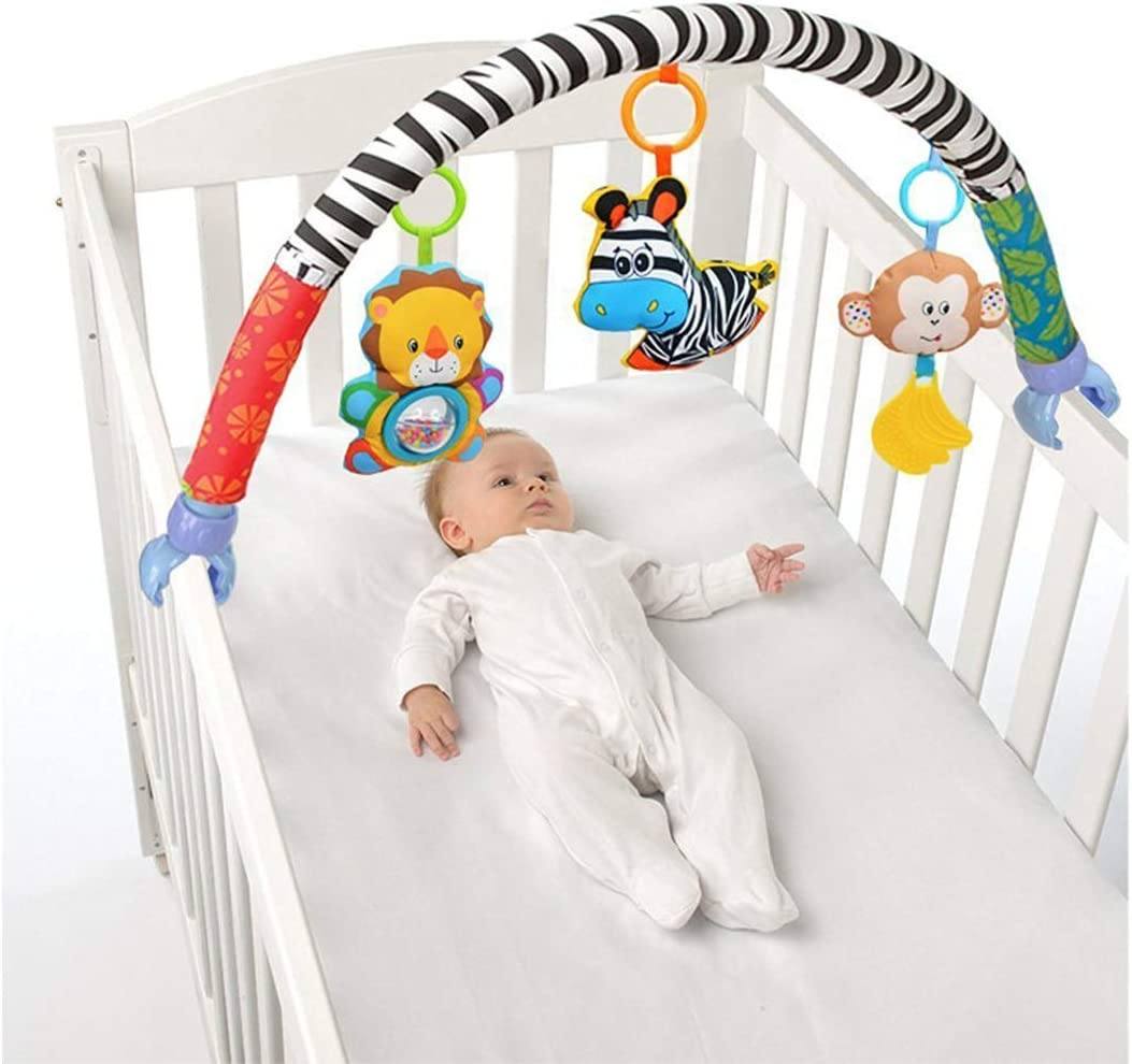VX-star Baby Travel Play Arch Stroller/Crib Accessory,Cloth Animmal Toy and Pram Activity Bar with Rattle/Squeak/Teethers(Stripe)