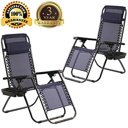 Zero Gravity Chair, Outdoor Folding Adjustable Lounge Chair Chaise 330Lbs Weight Capacity Recliner with Cup Holder and Pillows for Patio, Pool, Beach, ...