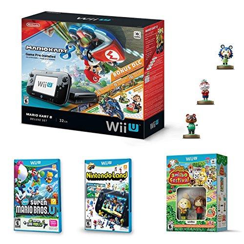 Consola Nintendo Wii U 32GB + Mario Kart 8 + 3 juegos físicos + 5 Amiibo - Standard Edition