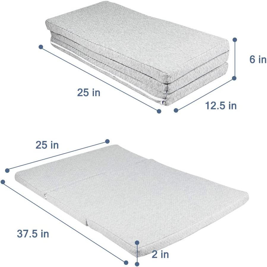 25 x 37.5 x 2 MBQMBSS Tri-fold Pack and Play Mattress Multi-Use Waterproof Folding Portable Crib Mattress High Density Foam for Babies and Toddlers with Travel Carry Case