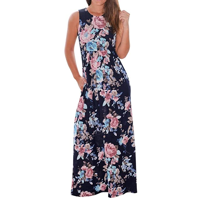 Overdose Vestido Largo Sin Mangas con Estampado Floral Y Estampado De Mujer CóModa con Bolsillos De