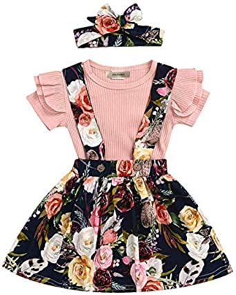 Conjunto de falda de tirantes para bebé niña con volantes de ...
