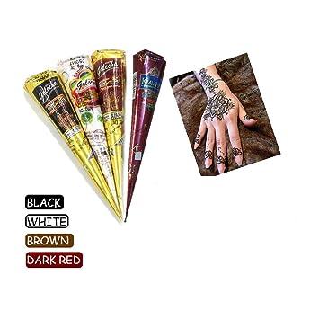 Amazon Com India Painting Tattoo Paste Cone 4 Tube Black White