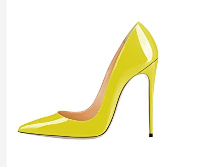 9b57b658208 SexyPrey Women s Big Size Patent Stiletto High Heels Pointed Toe Pumps Shoe  for Party Dress Yellow