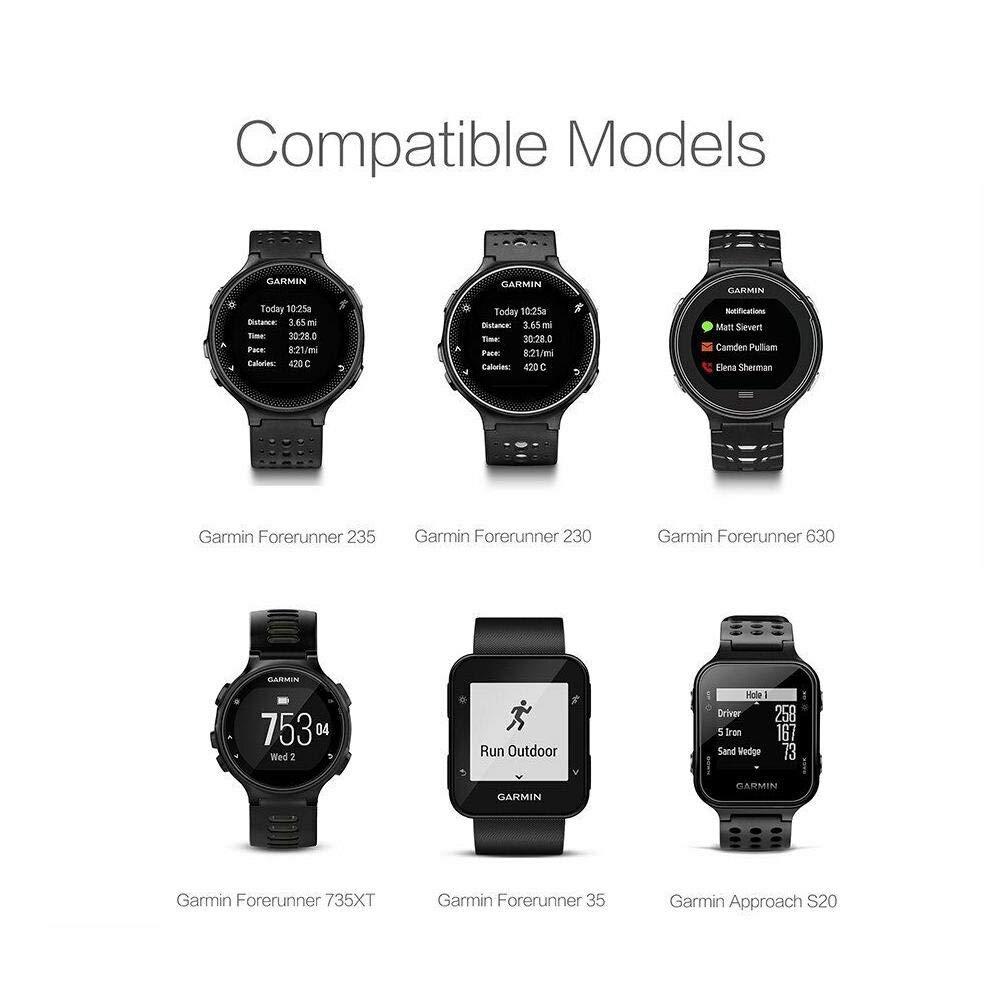 Teabelle Cargador Compatible con Garmin Forerunner 235/35/230/630/735XT/Approach S20 Reloj Inteligente Sincronización de Datos USB Cuna de Carga Base ...
