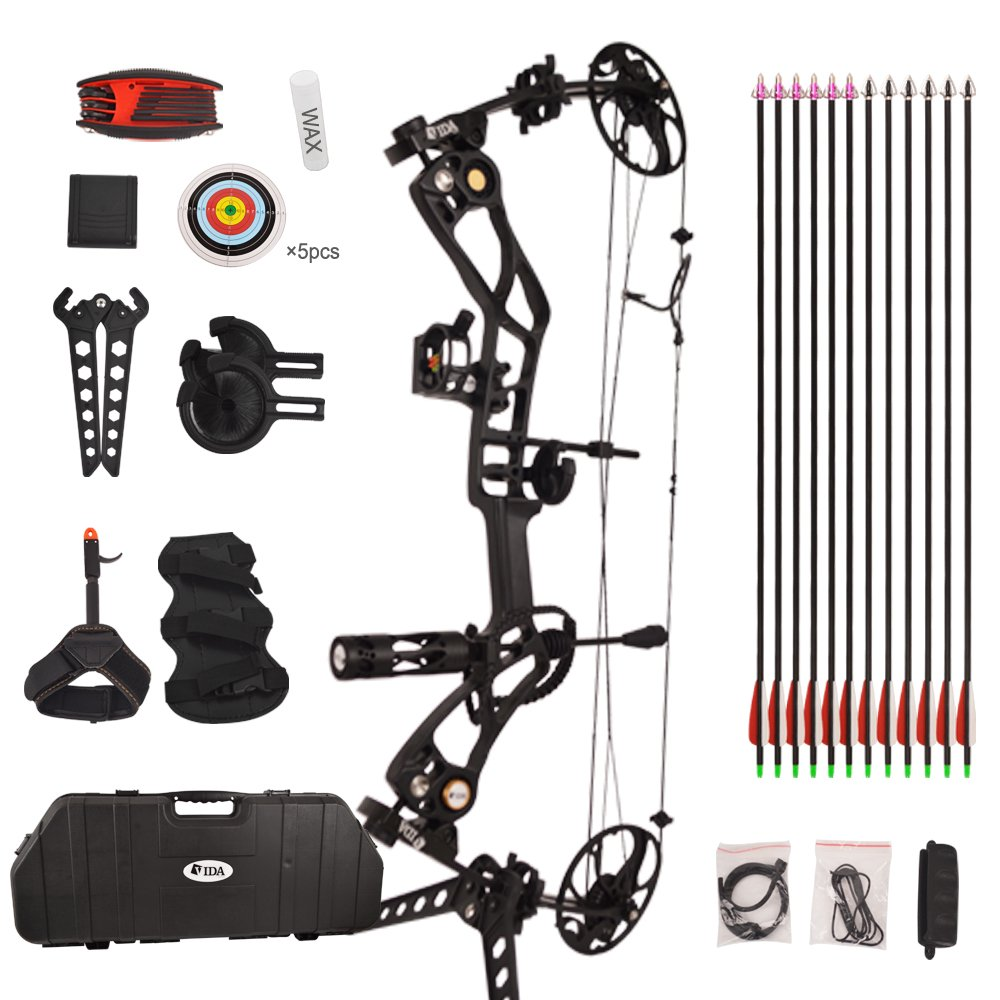 Vidagoods 15lb-70lb Pro Draw Weight 320 FPS IBO.Tactical Compound Bow Package CNC Milled Aluminum