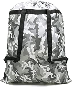HOLYLUCK Large Laundry Bag [26''x34''] Sturdy rip Tear Resistant Polyester Material with Drawstring Closure Ideal Machine Washable Laundry Bags for College Dorm and Apartment dwellers (Grey camo)