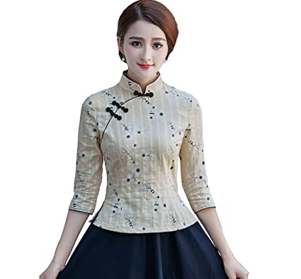 fc76ae43a YueLian Women's Linen Elbow Sleeve Classics Flower Design Traditional  Chinese Qipao Top Light Apricot,China