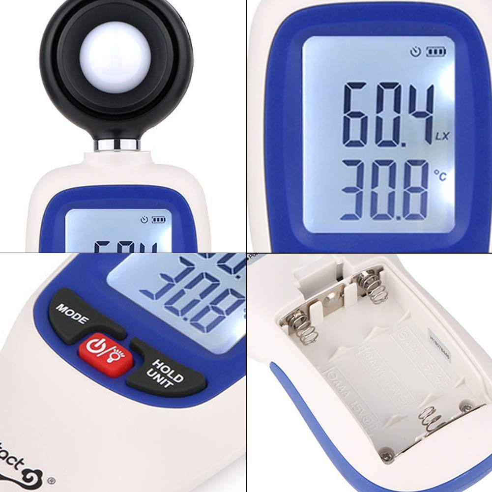 WT81 Digital Illuminance//Light Meter 0 to 200,000Lux 1 Lux Accuracy Digital Lux Meter Pack of 1