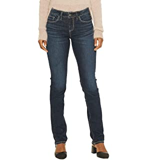 154e1b50 Silver Jeans Co. Women's Avery Curvy Fit High-Rise Straight Leg Jeans