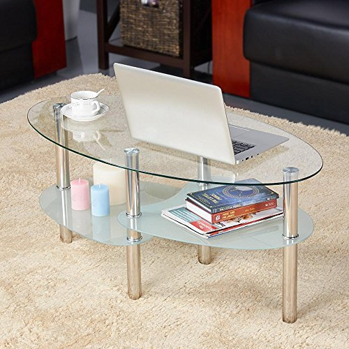 Yaheetech Round Oval Glass Top Coffee Table Center Table Sofa Side Cocktail Tables for Living Room Stainless Steel Legs Clear ()