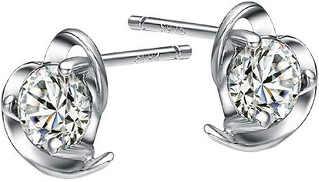 wunhope Pendientes Mujer Niña Plata de ley 925con diamante pequeño Corazón Brillante Mode Conector hipoalergénico