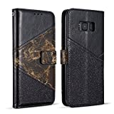 ZCDAYE Wallet Case for Samsung Galaxy S7 Edge,Premium Bling Glitter [Magnetic Closure] PU Leather [Ceramic Pattern] Stand Soft TPU with [Card Slots] Flip Cover for Samsung Galaxy S7 Edge - Black
