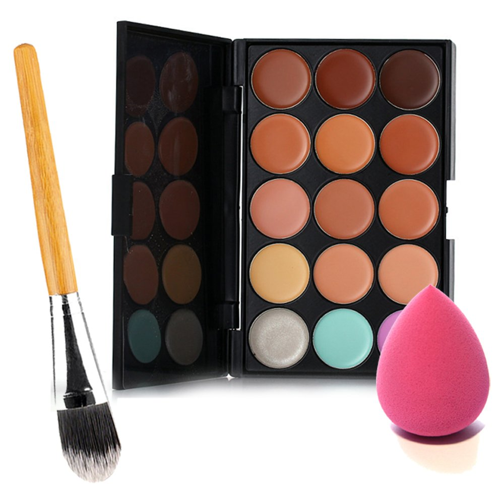 15 Colors Contour Face Cream Makeup Concealer Palette + Powder Brush + Sponge Puff Elisona