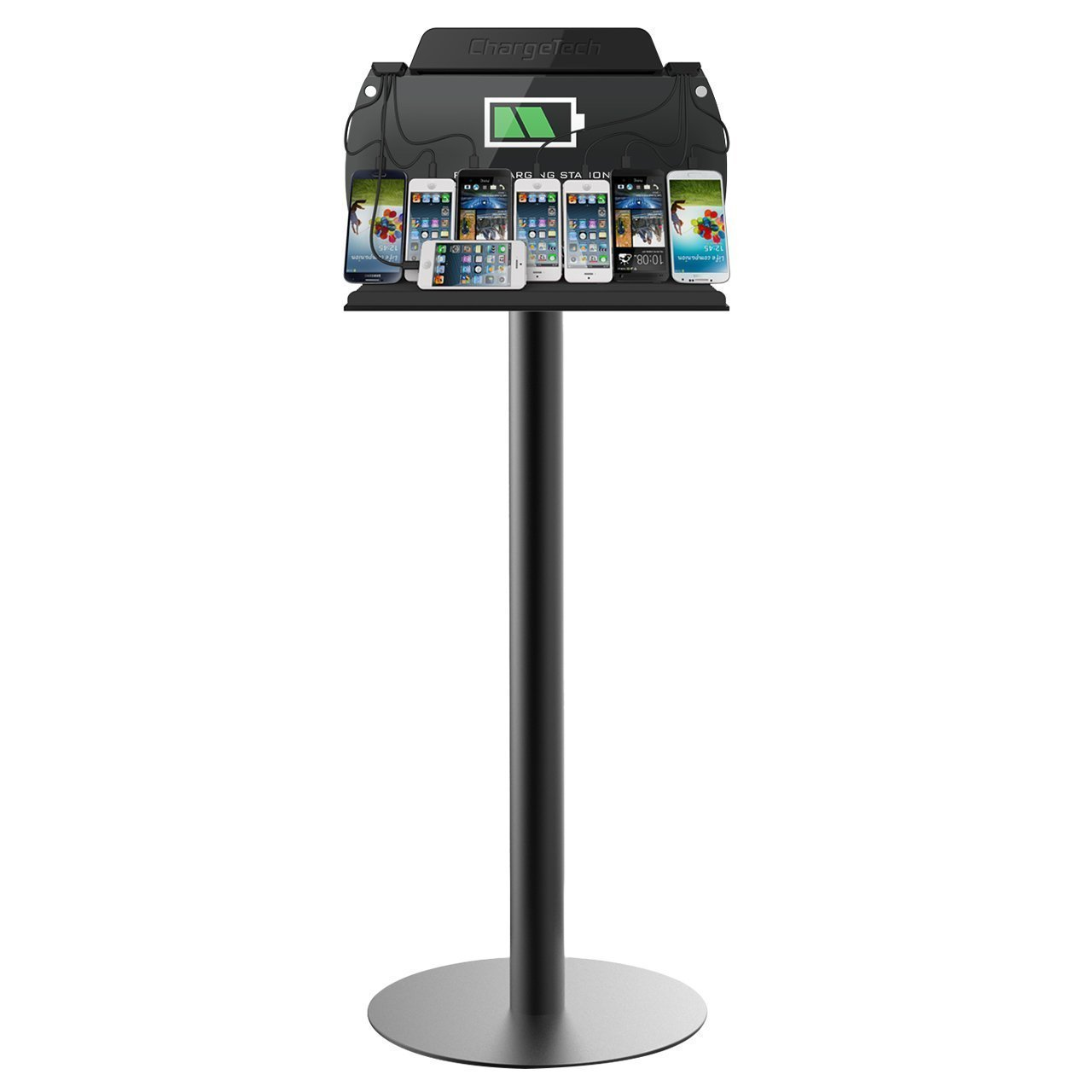 ChargeTech - Tower Floor Stand Cell Phone Charging Station w/ Universal Charging Tips Included - Community Charge Station for all devices: IPhone, Samsung Galaxy - For Businesses, Events (Model: S9)