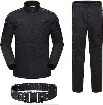 H World Shopping Hombres tácticos BDU uniforme de combate, camisa y pantalones, traje para ejército militar, paintball, caza, tiro de guerra, juego negro: Amazon.es: Deportes y aire libre