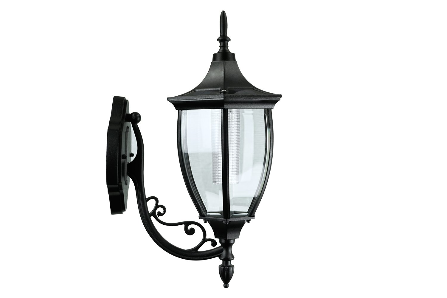 Sun-Ray 312079 Crestmont Wall Mount Solar Lantern, No Wiring Needed, Batteries Included, 17.8 inches, Black by Sun-Ray