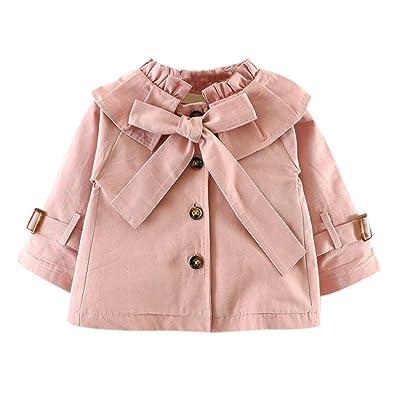 Bébé Filles Manteaux - Vestes Manches Longues Outerwear Princesse Coton Arc Automne Hiver Kaki Vert Rose 80 85 90 100 Yying