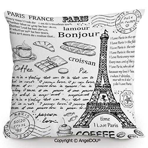 AngelDOU Back Cushion Nice Throw Pillow,Traditional Famous Parisian Elements Bonjour Croissan Coffee Eiffel Tower Illustration,Sofa Bed Head Waist Pillow Back car wa15.7x15.7 inches
