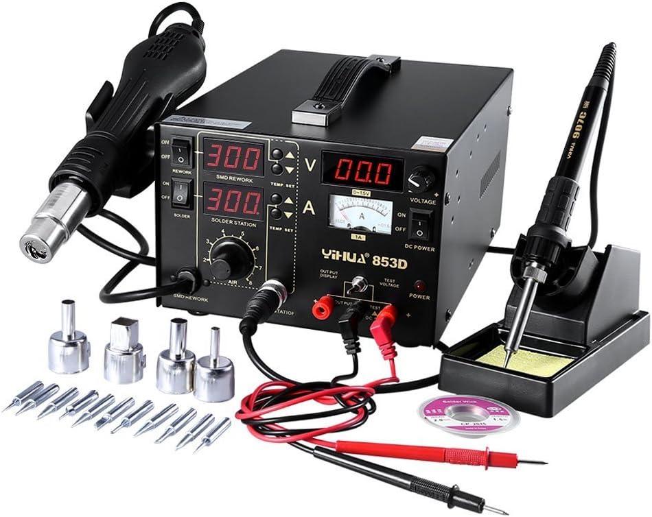 Estacion de soldadura digital SMD Kit del Soldador Eléctrico con pistola de aire (853D)
