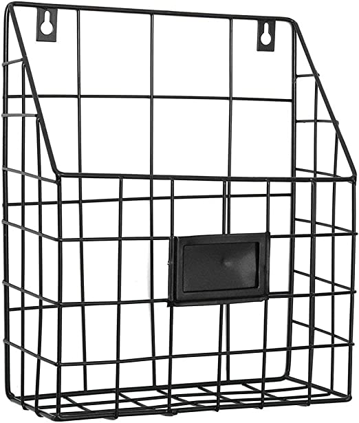Amasawa Retro Revistero de Hierro Estante Pared de Hierro Cesta Estanter/ía para Oficina Sala de Estar Dormitorio Cuarto de Ba/ño Negro