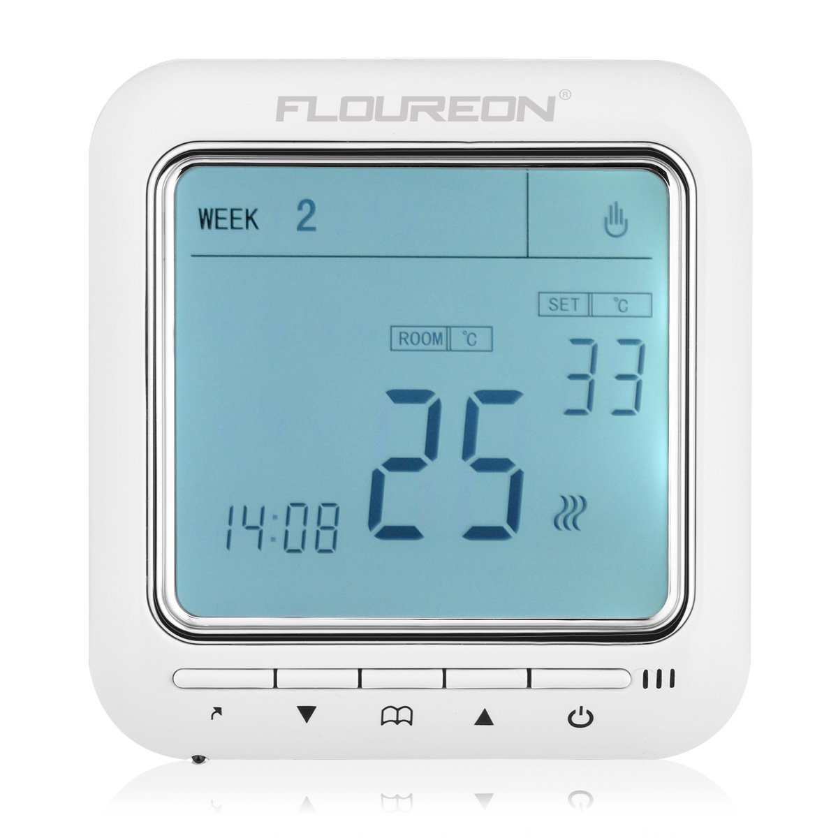 FLOUREON Heating Thermostat Programmable 5+2/6+1/7 Electric Heating ...